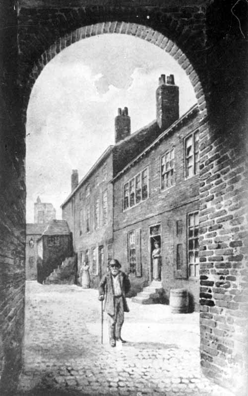 First infirmary in Leeds, a house in Kirkgate, click to enlarge