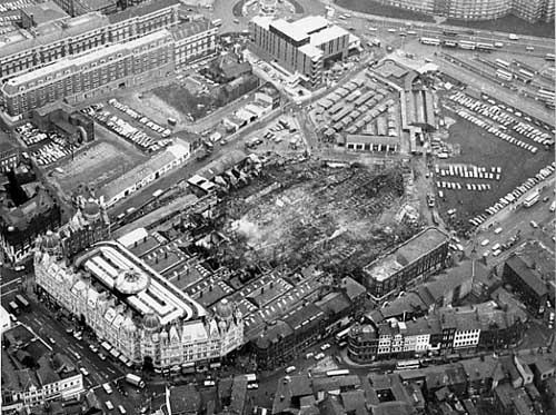 Leeds Kirkgate Market fire devastation– photo 2, click to enlarge