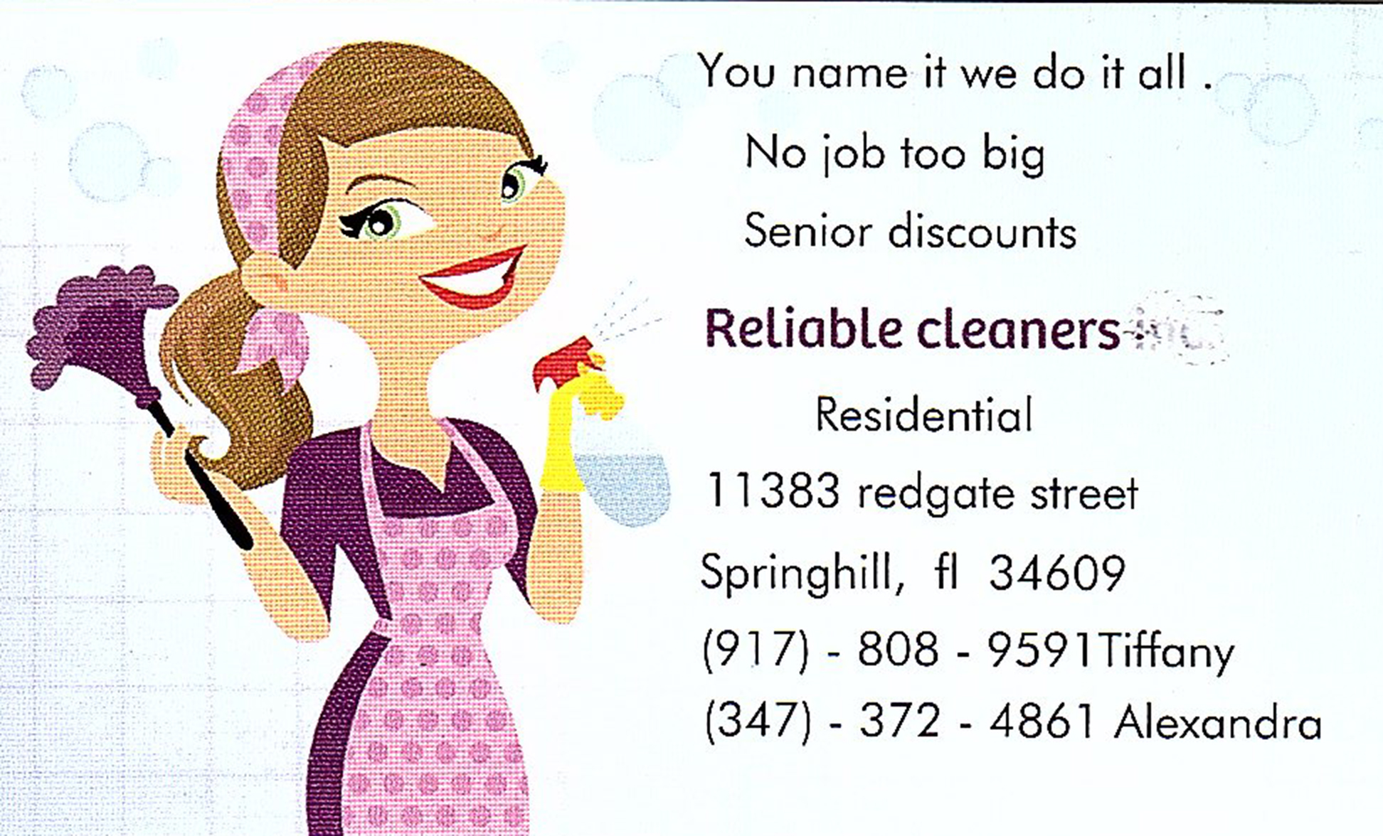 Local Pasco/Hernando County Florida cleaning service