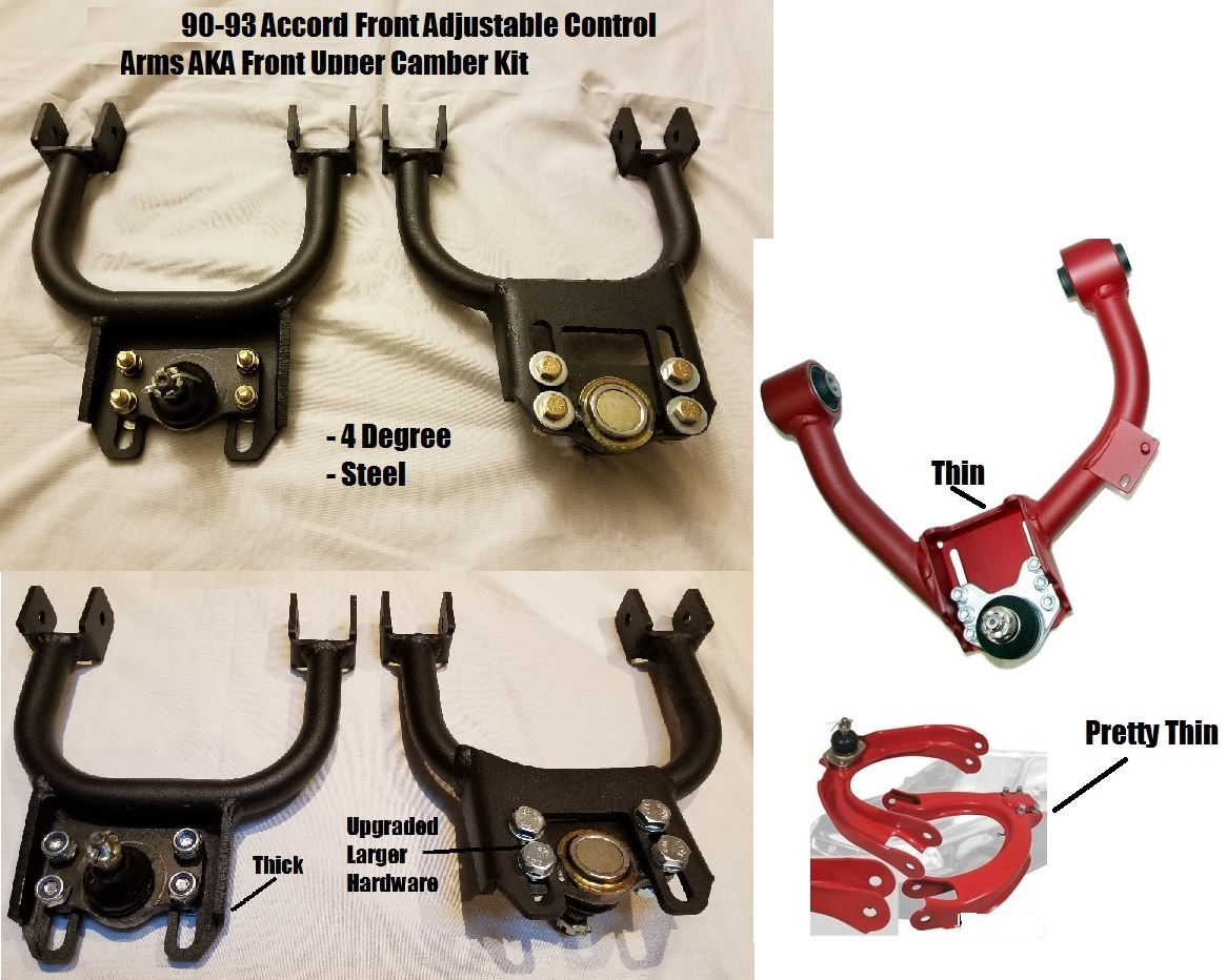 90 93 Accord Adjustable Front Upper Control Arm Aka Camber Kit 4 1990 Honda Engine Performance Problem Degree 2 Steel Thick End Plates Pair Set 260 Shipped Us